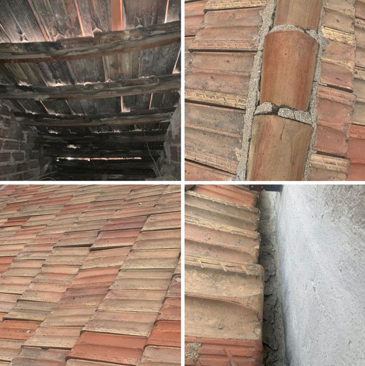 tejado con filtraciones