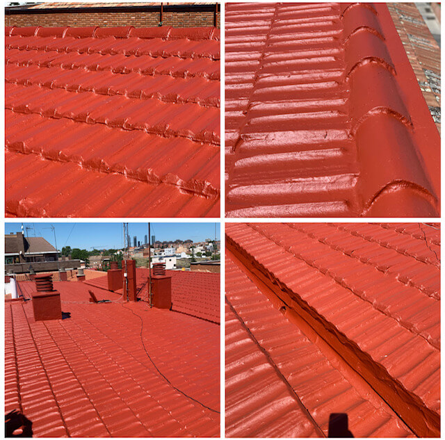 tejado impermeabilizado rojo
